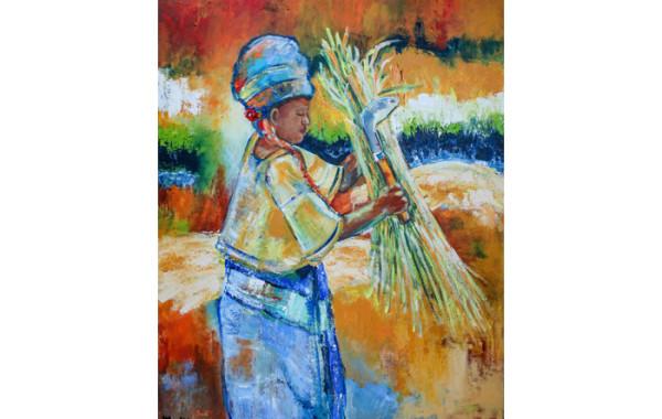 Werken in een rijstveld