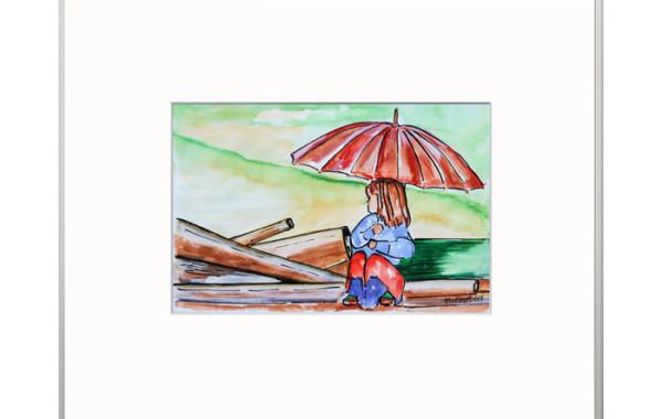 Meisje met parasol